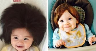 16 bimbi con una chioma così folta che quando sono nati sembravano indossare un parrucchino