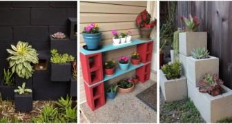 Une touche originale dans le jardin ? Les blocs en béton, parfaits pour les meubler de façon unique