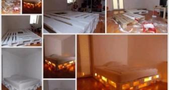 Rendi unica la tua stanza con questa struttura letto illuminata da realizzare con i pallet