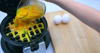 Mette le uova nella piastra per waffle: il risultato fa venire l'acquolina in bocca!