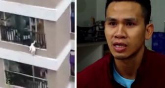 Ein Lieferbote rettet ein zweijähriges Kind, das versehentlich aus dem 12. Stockwerk gefallen war: Er hat es im Fall aufgefangen