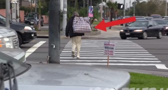They give $100 to a homeless guy and then follow him: what happens next is amazing !