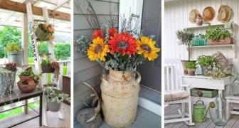 Dai un affascinante tocco vintage al tuo portico grazie al riciclo di vecchi oggetti e mobili