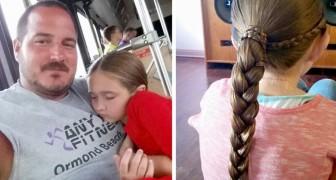 Pai solo aprende a fazer penteados em sua filha e agora ensina outros pais a fazerem o mesmo