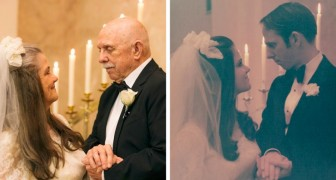 A couple recreate their wedding photos to celebrate their 50th anniversary - they love each other as if it were their first day