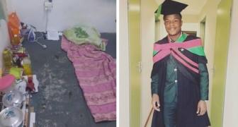 Un jeune diplômé partage des photos du sol sur lequel il a dormi et étudié : il n'a jamais baissé les bras