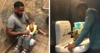 Un papà si batte affinché vengano installati dei fasciatoi per bambini anche nei bagni degli uomini