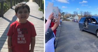 Er besiegt den Krebs mit 6 Jahren und wird als mutiger Held von seinen Klassenkameraden empfangen