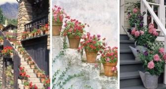 Scale fiorite: usa vasi e fioriere per rendere meraviglioso l'ingresso di casa