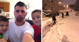 Two children see a man in a wheelchair trying to shovel snow: Stop dad! We have to help him!