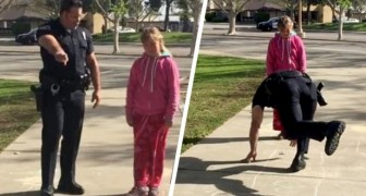 A policeman stops a homeless family and plays hopscotch with their little girl: he brought her some comfort