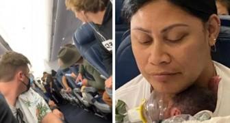 Uma mulher dá à luz inesperadamente durante um voo comercial: Não sabia que estava grávida!