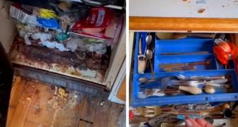 Ett äldre par klara inte längre att städa hemmet så en ung kvinna hjälper dem att få lägenheten skinande ren efter flera timmars rengöring