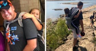 En skollärare erbjuder sig att bära en rörelsehindrad elev på ryggen för att hon ska få följa med på skolutflykten