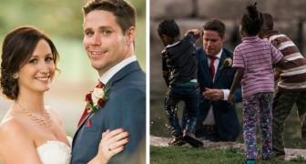 Tijdens de fotoshoot springt de bruidegom in het water om een kind te redden dat dreigde te verdrinken