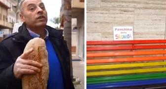 La panchina della solidarietà, il luogo dove questo fornaio regala il pane invenduto della giornata ai più bisognosi