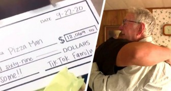 En 89-årig man livnär sig på att leverera pizza och får plötsligt dricks på 12.000 dollar
