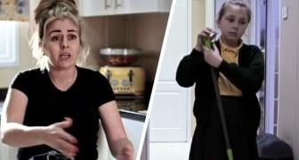 Diese Mutter möchte, dass ihre beiden Töchter die Hausarbeit erledigen, während ihre beiden Söhne spielen können