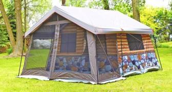 Questa tenda da campeggio in stile baita offre un'esperienza di lusso ed è studiata in ogni dettaglio