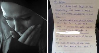Mamma in difficoltà apre la porta di casa e trova buste piene di spesa: quando legge il biglietto, scoppia a piangere