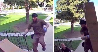 Een koerier schiet een 4-jarige jongen te hulp die verpletterd werd door het zojuist geleverde pakket