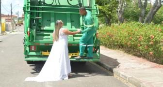 A noiva decide tirar as fotos do casamento no caminhão de lixo para homenagear o trabalho do marido