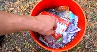 This man puts his junk MAIL in a bucket of water: the result is surprising.
