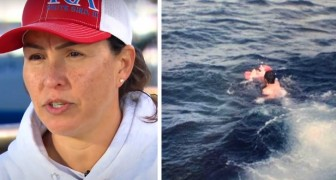 The only survivor of an accident at sea, after 35 years she embraces the two fishermen who saved her