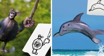Ein Vater erweckt Kinderzeichnungen zum Leben und verwandelt sie in bizarr aussehende Tiere