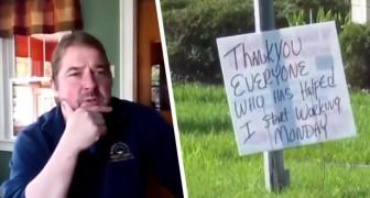Un senzatetto ringrazia con un cartello tutti coloro che lo hanno aiutato: Grazie, ho trovato lavoro