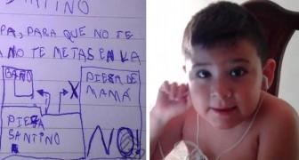 Un enfant de 6 ans dessine une carte pour la petite souris des dents : Pour que tu ne te perdes pas et que tu n'effraies pas maman