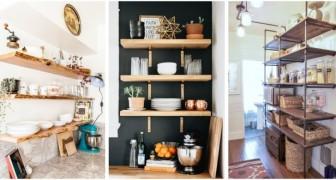 Mensole e scaffali a giorno in cucina: le soluzioni su misura per arredare con gusto e praticità