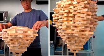 Impila oltre 1.500 blocchi di Jenga su un solo mattoncino: ha battuto il suo record mondiale