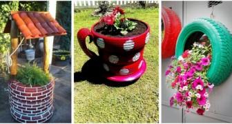 Trasforma i vecchi pneumatici in fioriere colorate e originalissime per il giardino