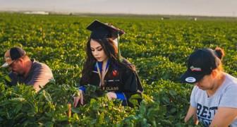 Une étudiante rend hommage à ses parents en prenant des photos de remise de diplôme dans les champs où travaille sa famille