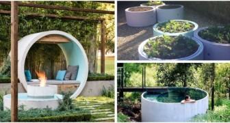 Anelli e tubi di cemento: arreda il tuo giardino con gusto moderno grazie a queste idee