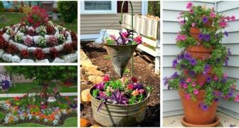 Ravivez le jardin avec des parterres de fleurs, des jardinières et de superbes décorations DIY