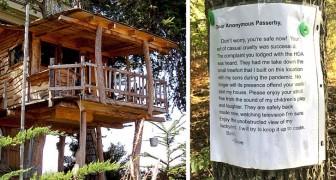 Hij bouwt een boomhut voor zijn kinderen, maar een voorbijganger geeft hem aan: hij wordt gedwongen het te slopen