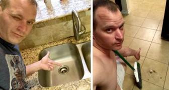 Se saca selfies mientras limpia la casa y se las envía a su pareja: así es como la quiere conquistar todos los días