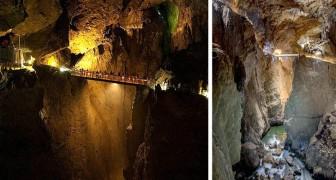 Queste grotte in Slovenia ospitano un Grand Canyon sotterraneo che sembra uscito da un film fantasy