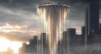 Un gruppo di architetti presenta questa incredibile torre a cascata sospesa nel cielo a 268 metri