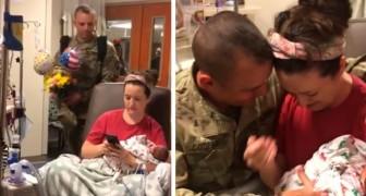 La moglie di un soldato manda un sms al marito dopo aver partorito, senza sapere che lui è proprio dietro di lei