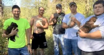 Sie wollten im Wald einen Junggesellenabschied feiern, retten aber letztendlich einen Hund und seine sieben Welpen