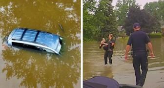 Tre poliziotti nuotano per salvare una donna di 82 anni intrappolata nella sua macchina da un alluvione