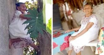 A 88 anni riesce ancora ad arrampicarsi sugli alberi per cogliere la frutta e venderla al suo villaggio