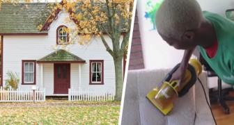 En städerska brister ut i tårar när hennes arbetsgivare ger henne huset som hon jobbat i under flera år