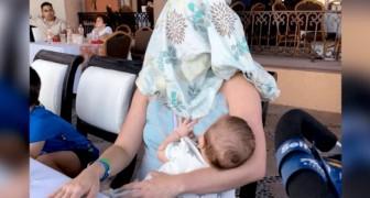 Stava allattando in un ristorante ma le dicono di coprirsi: lei decide di prendere alla lettera il suggerimento
