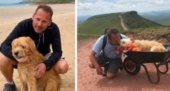 Sein Hund hat nur noch ein paar Tage zu leben, er trägt ihn in einer Schubkarre zu einem letzten gemeinsamen Abenteuer