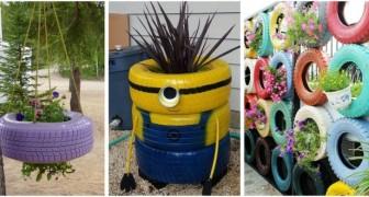 Vecchi pneumatici: riciclali per realizzare fantastiche fioriere e decorazioni per il giardino