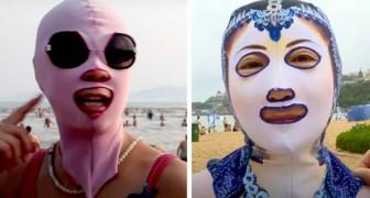 Questo costume da faccia viene indossato dalle donne cinesi per non abbronzare il volto